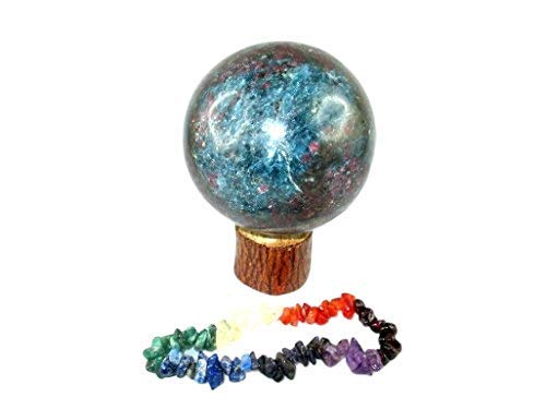 Jet Ruby Kyanite 45-50 mm Ball Sphere Gemstone A+ Hand Carved Crystal Altar Healing Devotional Focus Spiritual Chakra Jet International Crystal Therapy Booklet Image is JUST A Reference