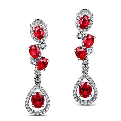 AMDXD 18 Karat Gold Damen Ohrringe Tropfen Träne Anhänger Glitzer Ohrstecker Red mit Weiß Rot Diamant Rubin