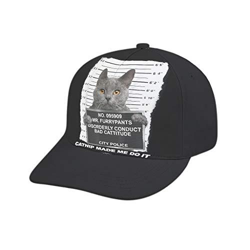 AXGM Unisex Erwachsener Kappe Katzenminze Schwarzer Katzen Verbrecher Mütze Stylisch Outdoor Hut Cap Verstellbar Baseballkappe für Männer und Frauen White OneSize