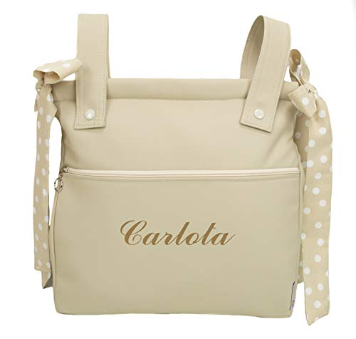 Bolso panera o talega para carrito de bebé personalizado con el nombre bordado. Modelo Harper (Arena)