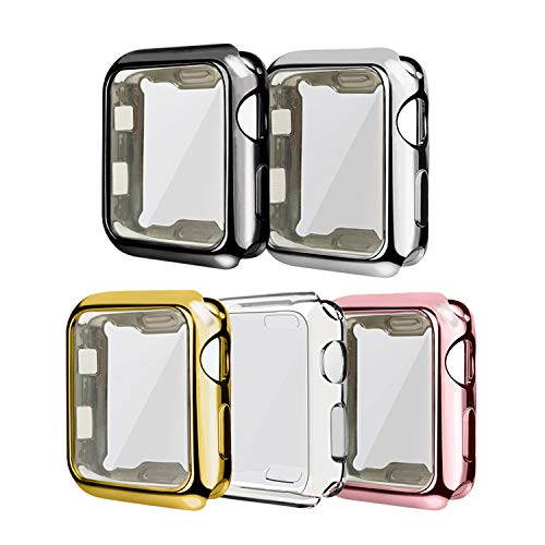 ISENXI Cases Compatible for Apple Watch 42mm Screen Protector, 5 Pack Soft Plated TPU All-Around Protective Case Ultra-Thin Cover Compatible with Apple Watch 42mm Series 3 2 1 (5Pack, 42mm)