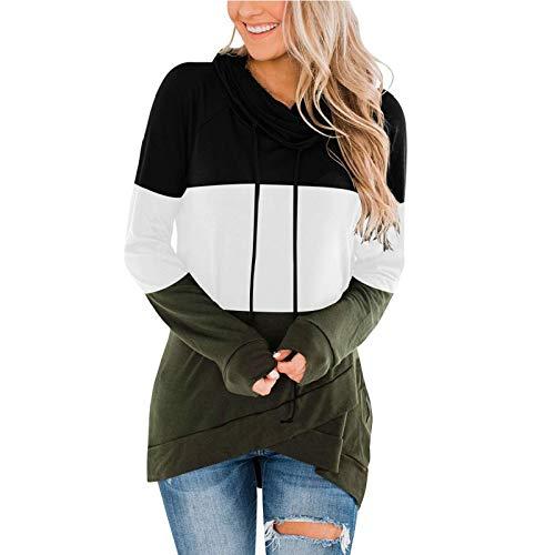 Hoodies for Women Stitching Crew Neck Sweatshirts Long Sleeve T Shirts Spring Autumn Winter Blouse Custom Shirts Ladies Tops Drawstring Tunic Jumper Women Clothes