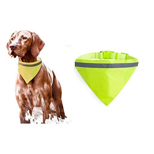 Cyber Urbano Bandana con Banda Reflectante para Perro - Collar con Tira Reflexiva Fluorescent para Mascotas - Bufanda Triangular - Toalla de Saliva - Pañuelo de Seguridad Nocturna - Verde.