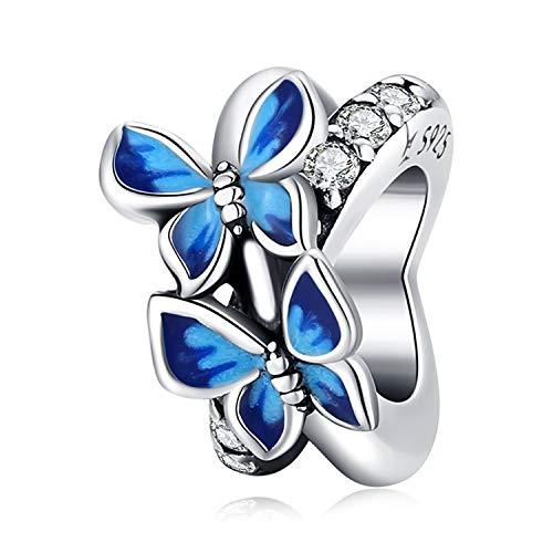 ZiFouDou Charm in Argento Sterling 925 per Braccialetti Pandora,Ciondoli Bead Charm Distanziatoris per Donne- Farfalle Volanti
