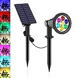 Gartenstrahler Solar, NATPOW 7 LED Solarlampen für Außen mehrfarbig Solar Gartenleuchten mit 2 Helligkeitsstufe 7 Farbwechsel IP65 Wasserdicht