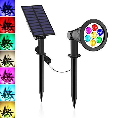 7 LED Luci Solari da Esterno, T-SUNRISE IP65 Faretti Solari a Paesaggio Modifica dei Colori Lampade Solari da Giardino Luci di Sicurezza Installata Separatamente
