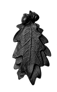 Renovators Supply Black Cast Iron Oak Leaf Door Knocker 6 X 3 Inches Long Antique Decorative Leaf Style Heavy Duty Front Door Gate Knocker Black Powder Coated Metal Knockers with Mounting Hardware