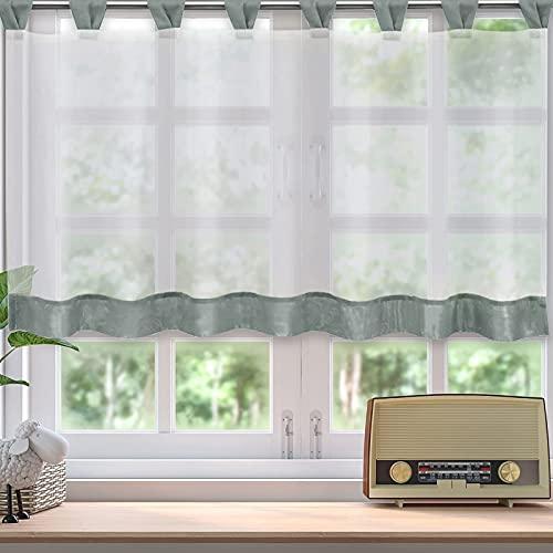 Visillos de voile Bistrovisillo gris y verde, cortina corta transparente con trabillas,...