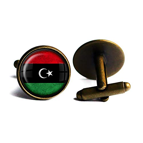 Libya Libyan Flag Libysche Libysche Flagge Antike Bronze Manschettenknöpfe