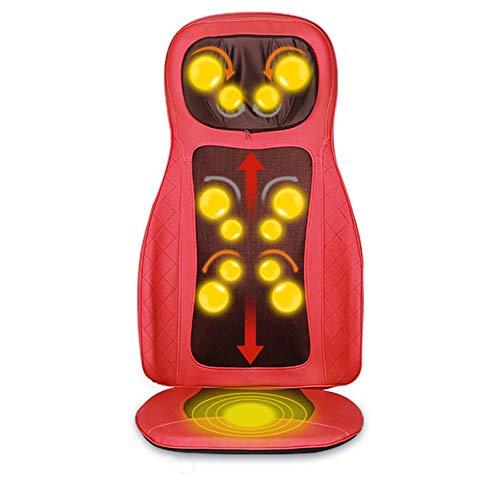 CGBF-Massagesitzauflage Rücken Massagegerät Massagematte, Ganzkörper Knet Roller Masage, Multifunktionales Kissen Stuhl für Auto/Home Use,Rot