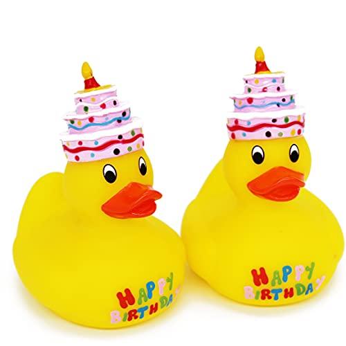 Kamaca Badequietscheentchen Quietscheente Gummiente Badeente Badespielzeug lustige Überraschung zum Geburtstag (2er Set Badeente Happy Birthday)