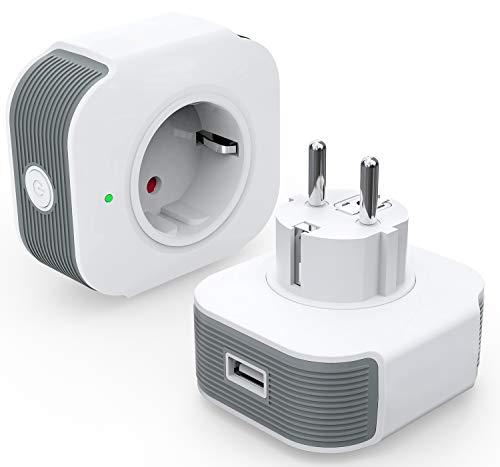 Smart Steckdose Alexa Steckdose 16A with USB, Alexa Stecker mit Timer Funktion Fernsteuerung und Sprachsteuerung, Kompatibel mit Alexa und Google Home, Schnelles USB-Laden, NUR auf 2.4 GHz (2)