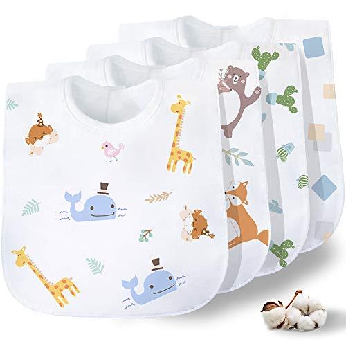 Gudodle Baby Zahnen Lätzchen-Bandana Drool Lätzchen, super saugfähig und weich für Sabbern und Zahnen Jungen & Mädchen, 4er Pack