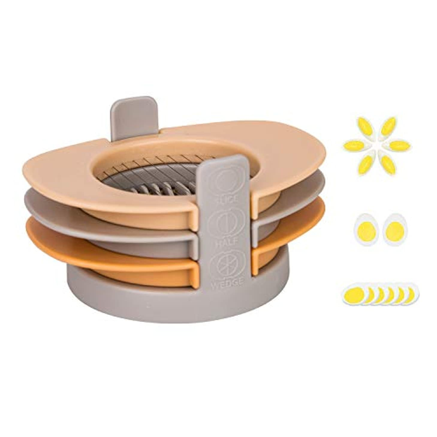 3-in-1 Egg Cutter with Stainless Steel Cutting Wire Egg Slicer for Fruit and Vegetable Kitchen Garnish Tool