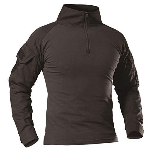 TRGPSG Camisa táctica militar de combate para hombre, manga larga, 1/4 con cremallera, diseño de camuflaje y airsoft con bolsillos - negro - XX-Large