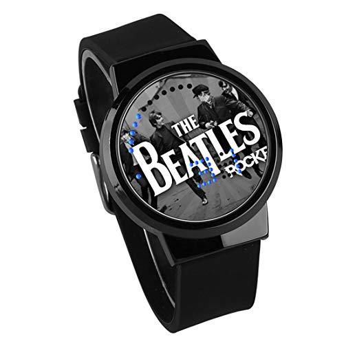 Relojes De Pulsera,Pantalla Táctil LED Reloj The Beatles Rock Band Alrededor De Cinta Luminosa Impermeable Reloj Electrónico DIY Regalo De Cumpleaños Creativo Negro