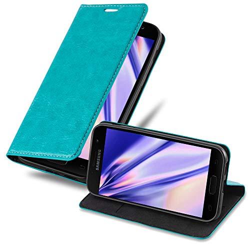 Cadorabo Hülle für Samsung Galaxy A3 2017 in Petrol TÜRKIS - Handyhülle mit Magnetverschluss, Standfunktion & Kartenfach - Hülle Cover Schutzhülle Etui Tasche Book Klapp Style