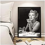 Marilyn Monroe espejo lápiz labial maquillaje póster cuadros de pared decoración del hogar 50x70 cm (sin marco) artppolr