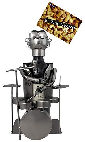 BRUBAKER Weinflaschenhalter Schlagzeuger - Deko-Objekt Metall - Flaschenständer - mit Grußkarte für Weingeschenk