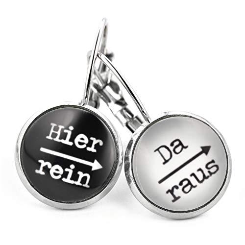 SCHMUCKZUCKER Damen Ohrhänger Spruch Hier rein Da raus lustige Edelstahl Ohrringe Silber (Schwarz Weiß)