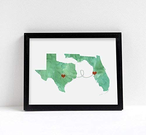 Any Two States Map Art Print Wall Decor - Unframed - WATERCOLOR series - Love Wedding Gift Personalized State