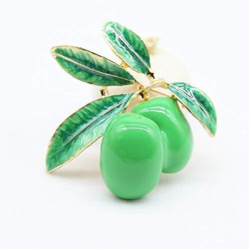 Ludage Exquisito Broches para Ropa Mujer Aleación joyería Gota Aceite Esmalte Color Rojo Verde Oliva Broche Gran Broche