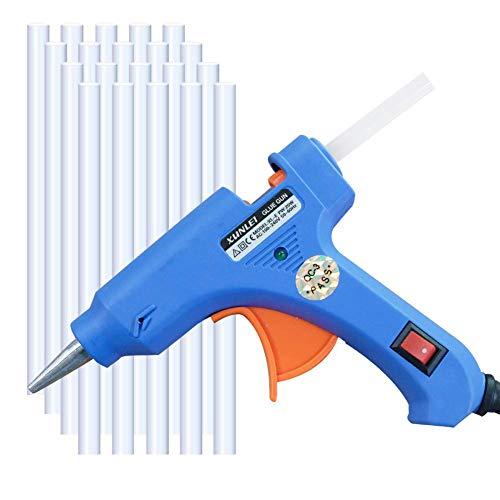 Hot Glue Gun, Upgraded Version Glue Gun, Professional Mini Hot Glue Gun with 20pcs Glue Sticks, Hot Glue Gun Kit for DIY Small Craft Projects and Home Quick Repairs (20-watt, Blue)