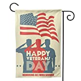American Soldier Saluting Silhouette And American Flag 12.5X18 inches Garden Flags Happy Veterans Day House Flags honoring all who served Outside Decoration Banners Garden Terrace