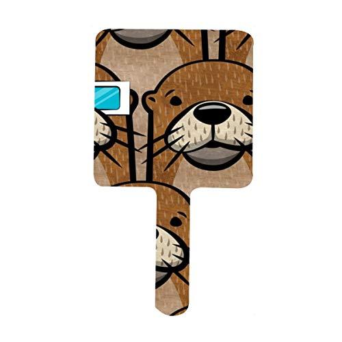 Otters con gafas D portátil, mango cuadrado, espejo de maquillaje, espejo de tocador HD, espejo de mano para el hogar, salón de belleza dental, espejo de viaje
