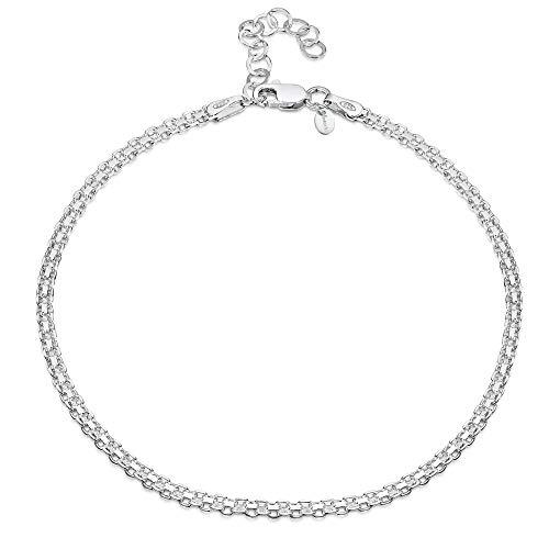 Amberta 925 Sterlingsilber Fußspange – 2,2 mm Bismarck Fußkettchen Armband – 22 bis 25,5 cm – Flexibel Verstellbar