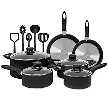 Best Choice Products 15-Piece Nonstick Aluminum Stovetop Oven Cookware Set for Home, Kitchen, Dining w/ 4 Pots, 4 Glass Lids, 2 Pans, 5 BPA Free Utensils, Nylon Handles - Black
