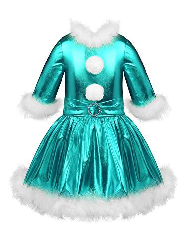 IEFIEL Niña Vestido de Fiesta Navidad Disfraz de Papá Noel Vestido de Danza Ballet Manga Larga para Niña Maillot Brillante de Gimnasia Rítmica Azul Oscuro 11-12 años