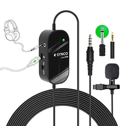 Microfono Solapa, Synco Lav-S6M Microfono Lavalier con Monitoreo de Audio Condensador Omnidireccional 6M, Compatible para Cámaras, Móviles, Videocámaras, Grabadoras Audio, Mezcladores, Computadoras