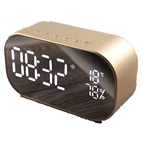 Edward Jackson Wecker Wireless Audio drahtloses Wireless Subwoofer-Radio Dual-Lautsprecher Spiegel Ton Wecker am Bett Digital Display Uhr (Color : Gold)