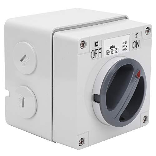 Material de la PC 250 V 100000 veces Interruptor de aislamiento impermeable con bloqueo de seguridad(1P 20A)