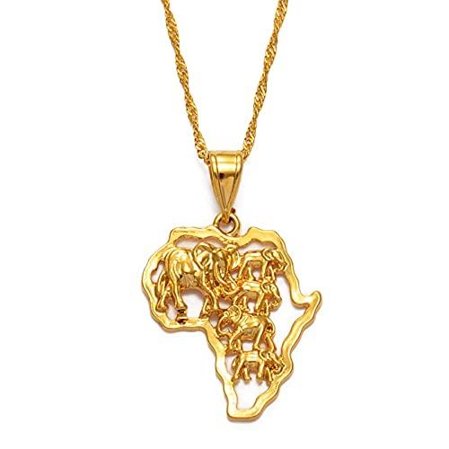YUANYIRAN Mapa De África Elefantes Collares Colgantes - Encanto Africano Mapas Étnicos Bandera Fina Cadena Collares, Patriótico Oro Color Mapa Hip Hop Joyería para Mujeres Hombres Fiesta Regalo,60Cm