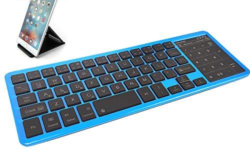 Ovegna BT12: Kabellose Bluetooth-Tastatur, Hintergr&beleuchtung, RGB, Touchpad und Digital, wiederaufladbarer Lithium-Akku, mit USB-Ausgang