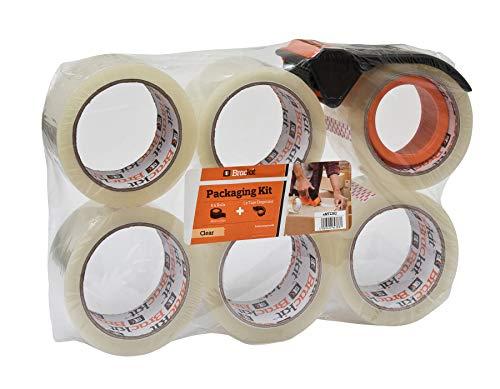 Brackit - Cinta de embalaje transparente con dispensador, 48 mm x 66 mm, paquete de 6 rollos - Dispensador compacto incluido, ideal para mudanza y embalaje