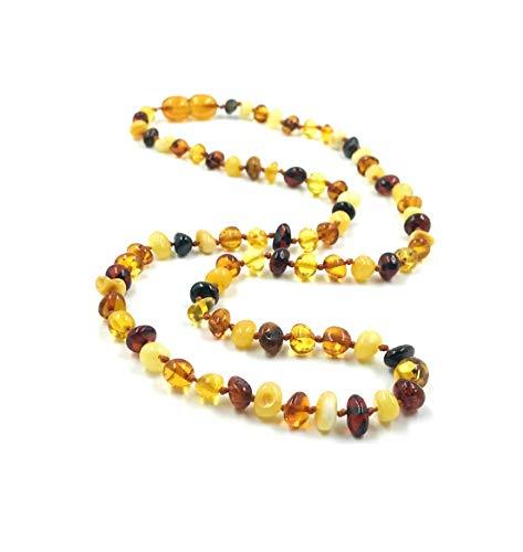 Amber Jewelry Shop - Collana in ambra baltica con perle di ambra naturale lucidata (46 cm) e Nessun metallo, colore: multicolore, cod. AN-DE-01