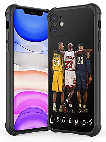 UUR Case Compatible with iPhone 11, Hard PC Back with Soft TPU Edges, Shockproof Phone Case Sports Pattern Designed for Basketball Fans, Black (Legend-Kobe-Jordan-Lebron)