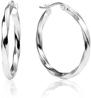 Sterling Silver High Polished Twist Round Click-Top Hoop Earrings