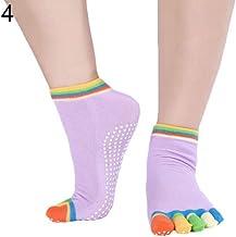 Jiacheng29_ Vrouwen 1 Paar Antislip Enkel Grip Kleurrijke Vingers Duurzaam Kleurrijke 5 Toe Vinger Katoen Yoga Sokken Lich...