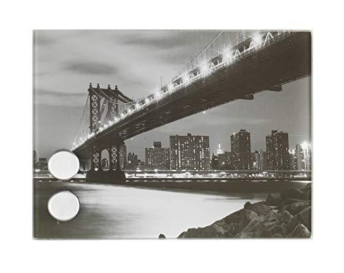 Wenko 50472100 Manhattan Bridge Boîte à Clés Magnétique avec 7 Crochets - Verre Noir et Blanc - 20 x 15 cm
