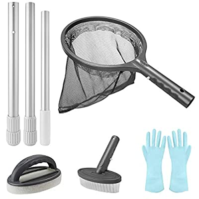 Homga Pool Cleaning Kit, Hot Tub Spa Pond Maintenance Kit Swimming Pool Accessories with Leaf Skimmer Net, Sponge Cleaning Brush, Scrubber & Pole