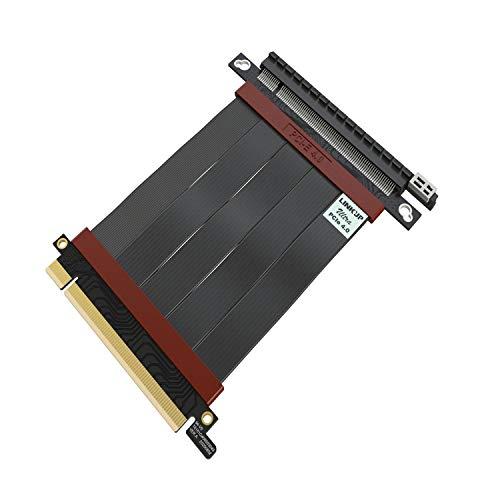 LINKUP - Ultra PCIe 4.0 X16 Tarjeta Extensión Cable Elevador [RTX3090 RX6900XT Probado] Vertical Gen4 Blindado de Alta Velocidad Extrema┃Conector 180 Grados {10cm} PCI Express 3.0 y TT Compatible