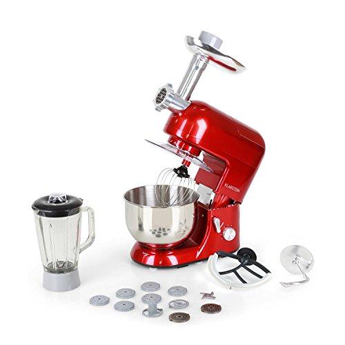 Klarstein Lucia Rossa - robot da cucina , mixer , impastatrice , 1200 W , 5 L , sistema planetario , tritacarne , ganci per pasta , shaker da 1,5 L , velocità regolabile , rosso
