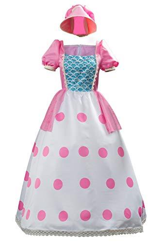xiemushop Disfraz De Mujer para Cine Vestido Cosplay Bo Peep Sombrero De Vestir Rosa Conjunto Completo De Disfraces De Carnaval, XXL