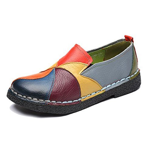 Socofy Loafer Flats for Women, Leather Casual Loafers Slip on Moccasin Driving Slippers Handmade Oxford Dress Shoes Yellow 6 M US
