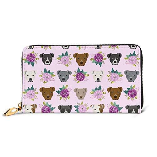 Pitbull Gesichter Lavendel Blumen Damen Geldbörse Groß mit Mehrere Kartenfächer Kapazität Leder Damen Geldbörse Lang Clutch Geldbörse