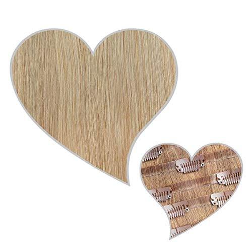 GLOBAL EXTEND® Clip in Extensions nahtlos aschblond#18 40cm 150g Volume Seamless Clips aus 100% Echthaar Haarverlängerung nahtlose Haarclips Haarverdichtung Real Human Hair